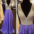 Charming Heavy Beaded Sparkle V Neck Cheap Long Prom Dresses, BG51109 - Bubble Gown