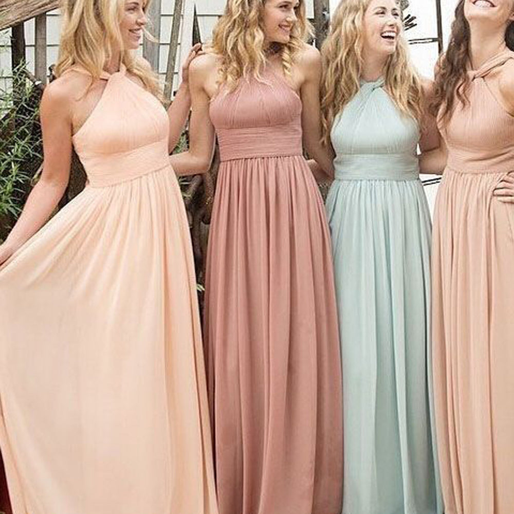 Chiffon Halter Floor-Length Cheap Maxi Bridesmaid Dresses, BG51383