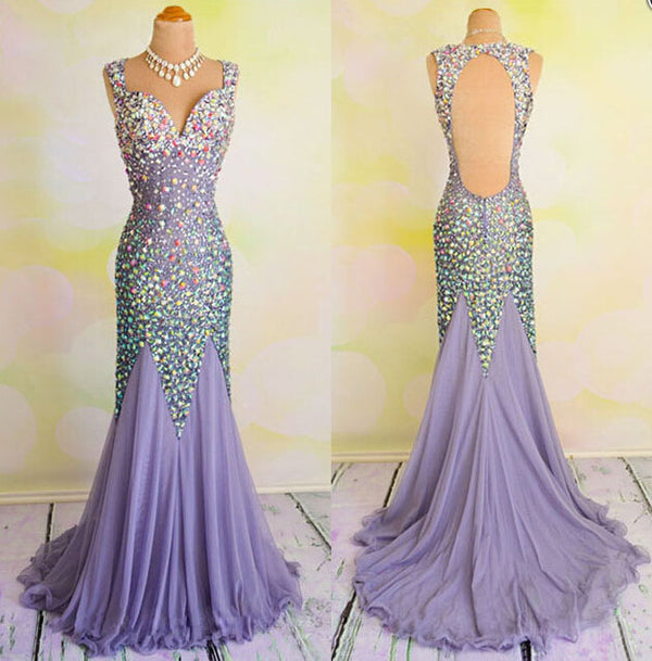 Gorgeous Heavy Beaded Shinning Mermaid Open Back Long Prom Dresses, BG51103 - Bubble Gown