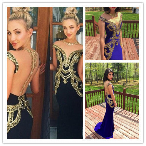 Unique See Through Back Black Gold Cap Sleeve Long Prom Dresses, BG51034