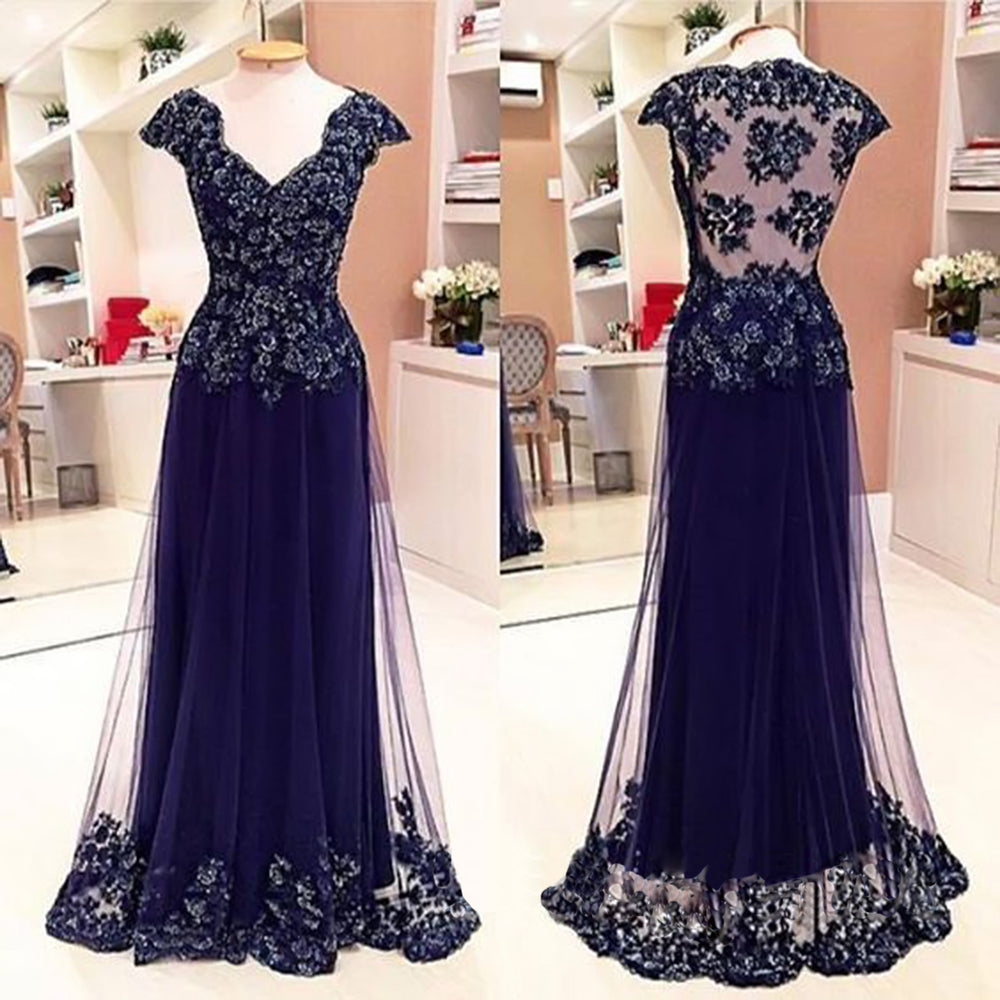 Affordable Cap Sleeve See Through Back Elegant Long Prom Dresses, BG51042