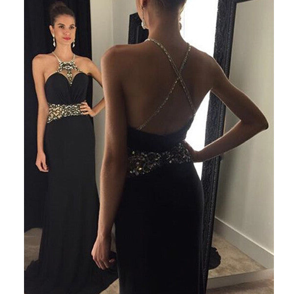 Black Affordable Sexy Open Cross Back Long Evening Prom Dress, BG51031 - Bubble Gown