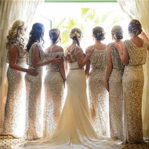 Bling Sequin Long Wedding Guest Bridesmaid Dresses, BG51355