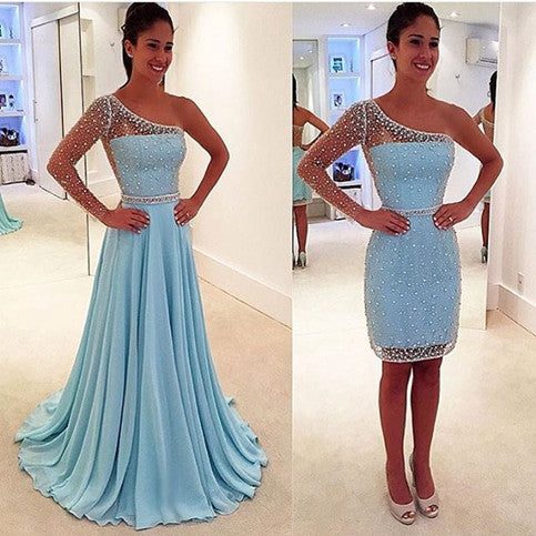 2 Pieces Blue See Through One Shoulder Long Sleeve Long Prom Dresses, BG51038 - Bubble Gown