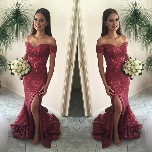 Off Shoulder Sequin Mermaid Side Slit Cheap Long Prom Dresses, BG51214