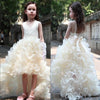 V-neck Hi-low Ivory Flower Girl Dresses, Cute Cheap Tutu Dresses, FG014