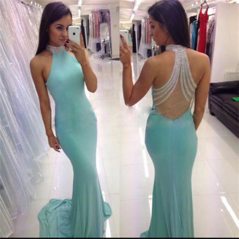 Blue Beaded High Neck Mermaid Sexy Long Prom Dresses, BG51167