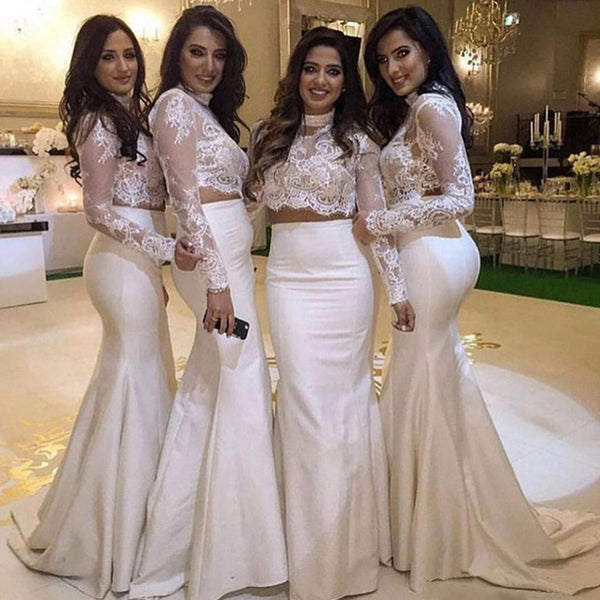 White Two Pieces Long Sleeves Lace Mermaid Long Bridesmaid Dresses, BG51395
