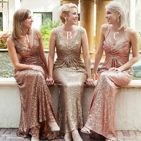 Cheap Sequin Mismatched Sexy Long Wedding Bridesmaid Dresses, BG51291 - Bubble Gown