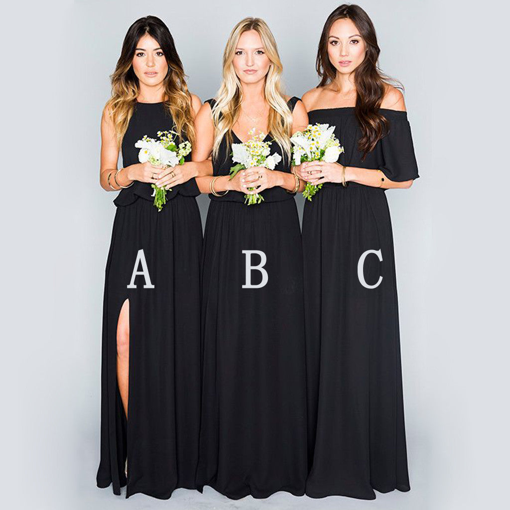 Black Chiffon Mismatched Eleagnt Long Wedding Bridesmaid Dresses, BG51062 - Bubble Gown
