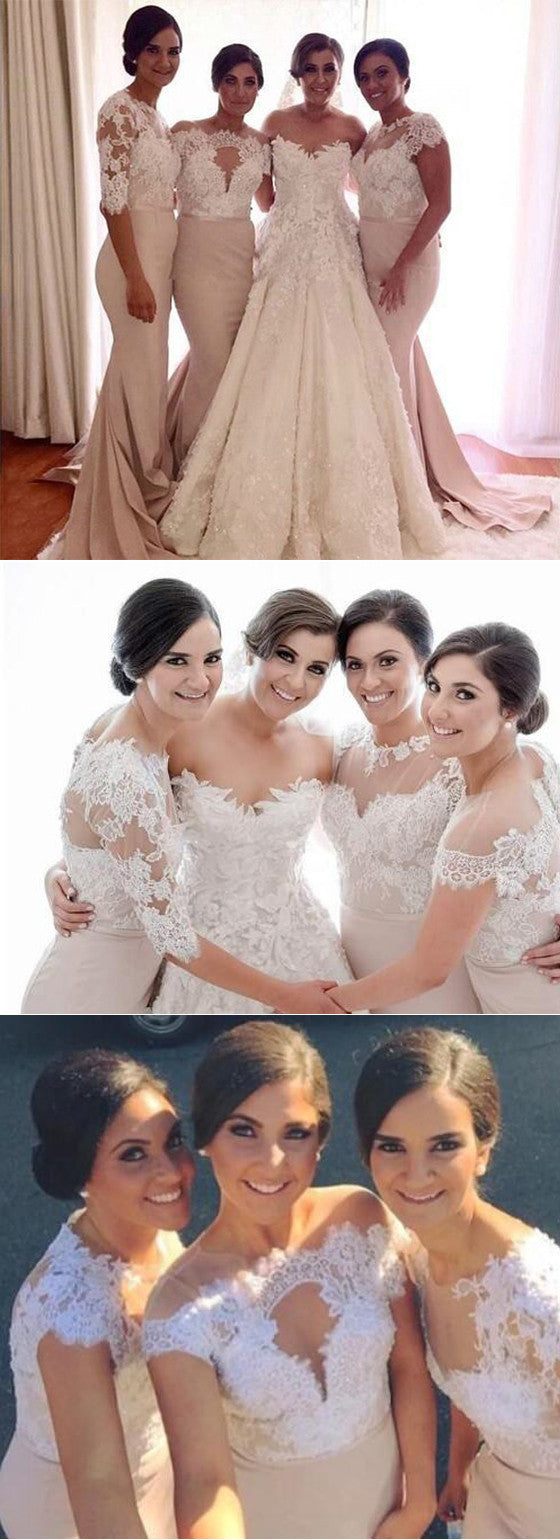 Mismatched Lace Mermaid Long Wedding Bridesmaid Dresses, BG51049