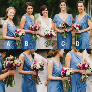 Blue Jersey Mismatched Long Charming Wedding Bridesmaid Dresses, BG51063