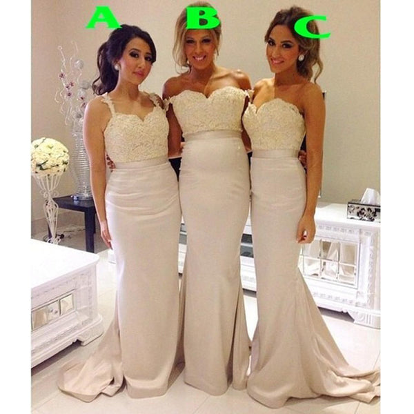Mermaid Mismatched Long Lace Top Wedding Bridesmaid Dresses, BG51306