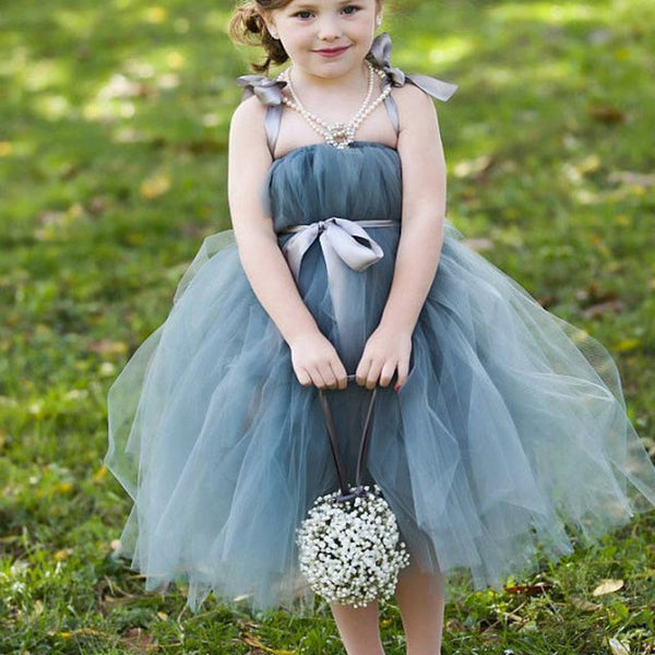 f8cd932961 Dusty Blue Pix Tutu Dresses, Tulle Flower Girl Dresses, Cheap Little Girl  Dresses for