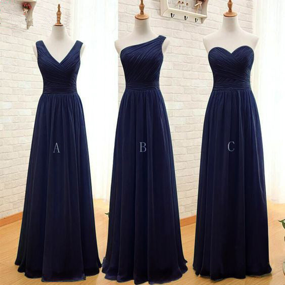 Chiffon Mismatched Simple Cheap Long Wedding Bridesmaid Dresses, BG51309 - Bubble Gown