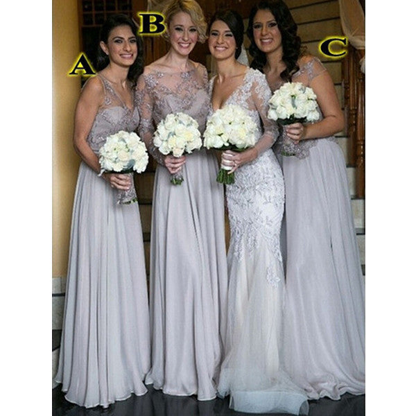 Mismatched Silver Cheap Long Wedding Bridesmaid Dresses, BG51293