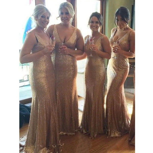 Gold Sequin V Neck Sexy Cheap Long Wedding Bridesmaid Dresses, BG51272 - Bubble Gown