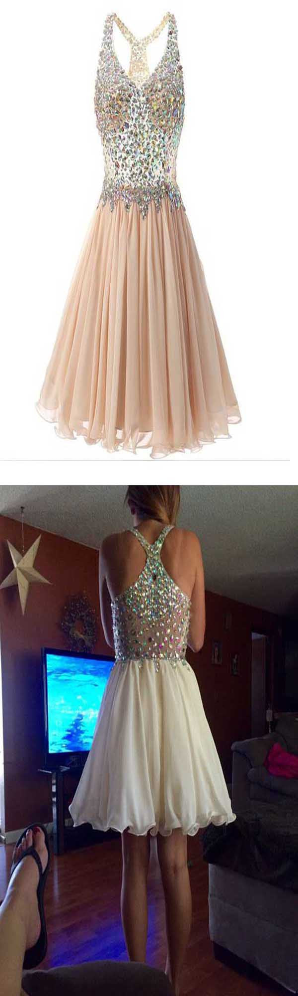 Gorgeous Sparkle Top Chiffon Open Back Homecoming Dresses, BG51456 - Bubble Gown