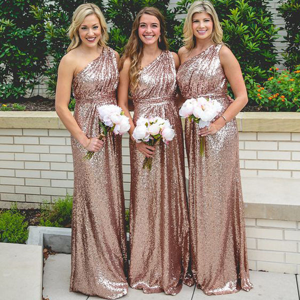 Sequin One Shoulder Shinning Cheap Long Bridesmaid Dresses, BG51365