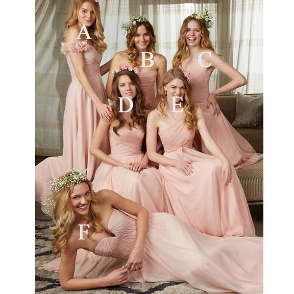 Mismatched Chiffon Cheap Long Bridesmaid Dresses, BG51401