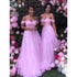 Pink Lace Off Shoulder Sweetheart Long Bridesmaid Dresses, BG51342