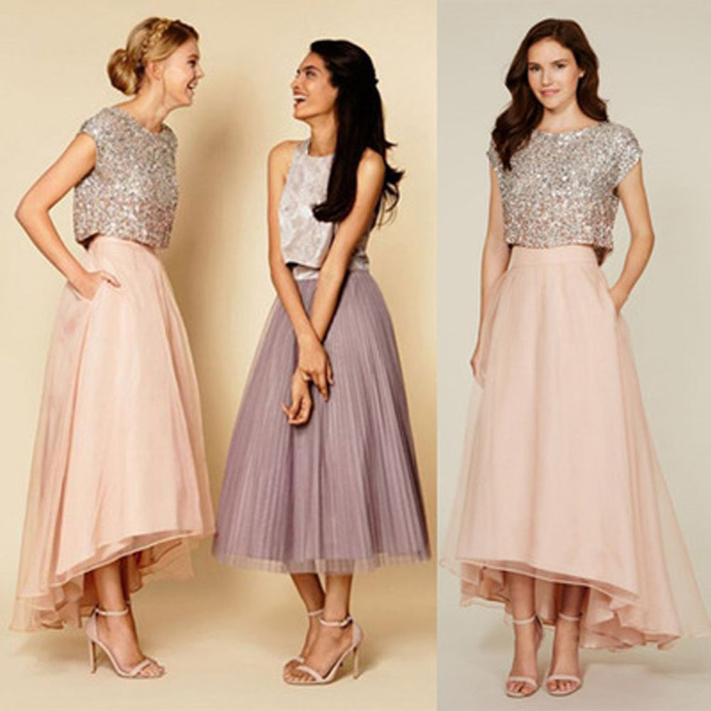 Two Pieces Cap Sleeve Sequin Top Organza Long Bridesmaid Dresses, BG51362