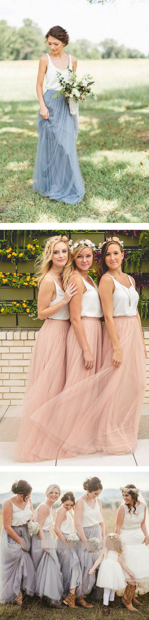 Cheap Junior Scoop Neck White Blush Pink Tulle Long Bridesmaid Dresses, BG51344 - Bubble Gown