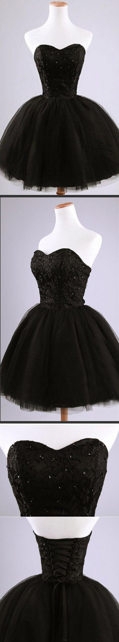 Sweetheart Tulle Lace Little Black Short Homecoming Dresses, BG51440