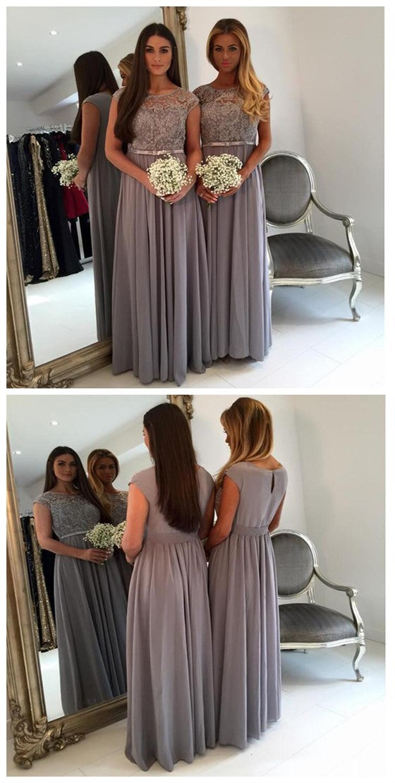 Cap Sleeve Lace Grey Floor-Length Wedding Guest Dresses, BG51287 - Bubble Gown