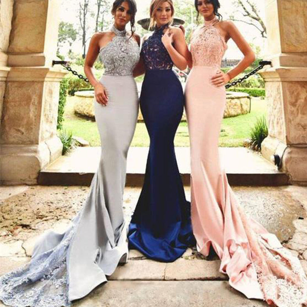Affordable Halter Lace Top Mermaid Wedding Guest Dresses, BG51250