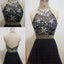 Black Halter Open Back Beaded Short Homecoming Dresses, BG51433