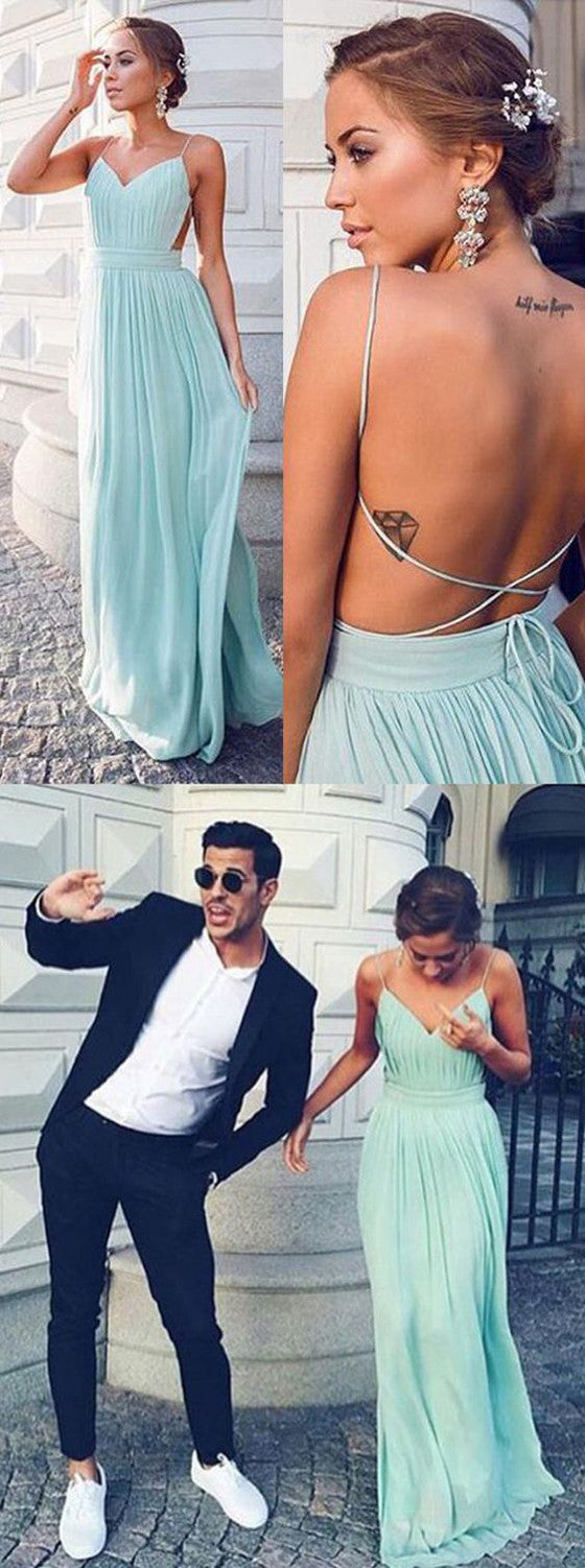 Chiffon Backless Tiffany Blue Cheap Prom Wedding Party Dresses, BG51246 - Bubble Gown