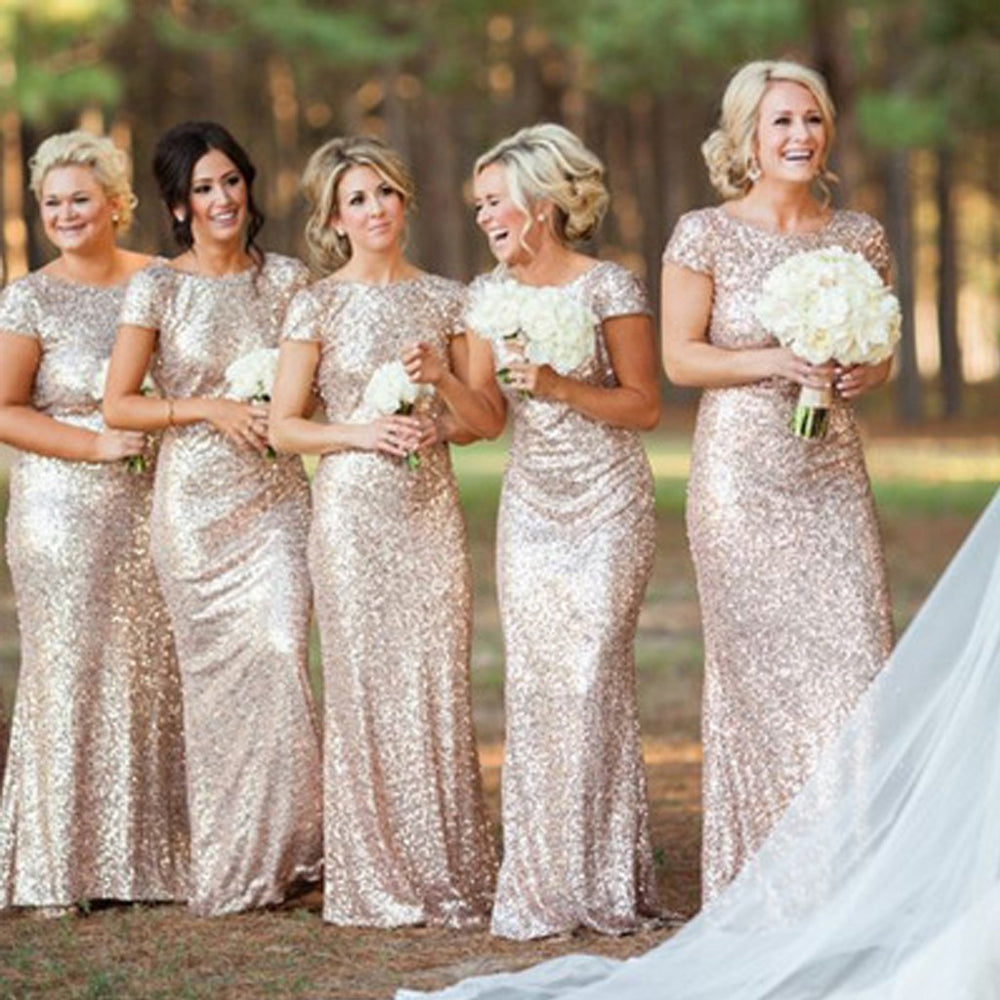 Charming Mermaid Short Sleeve Sequin Long Bridesmaid Dresses, BG51317