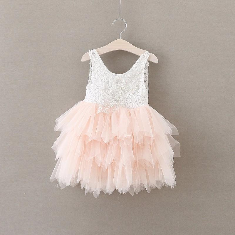 Scoop Neckline Lace Top Tulle Popular Tulle Flower Girl Dresses, Cheap Little Girl Dresses,  FG018