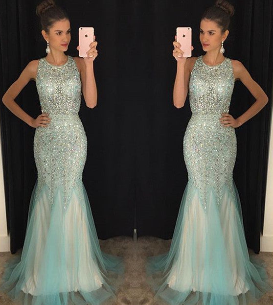 Heavy Beaded Shinning Open Back Mermaid Sexy Long Prom Dresses, BG51218 - Bubble Gown