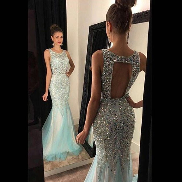 Heavy Beaded Shinning Open Back Mermaid Sexy Long Prom Dresses, BG51218