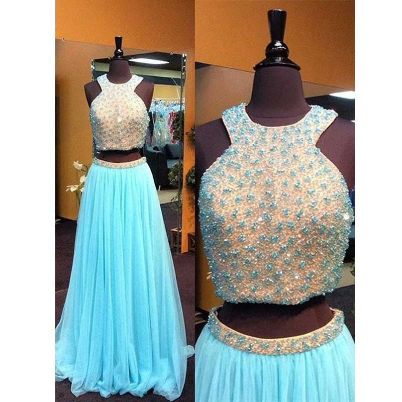 Blue 2 Pieces Beaded Top Tulle Charming Long Prom Dresses, BG51482