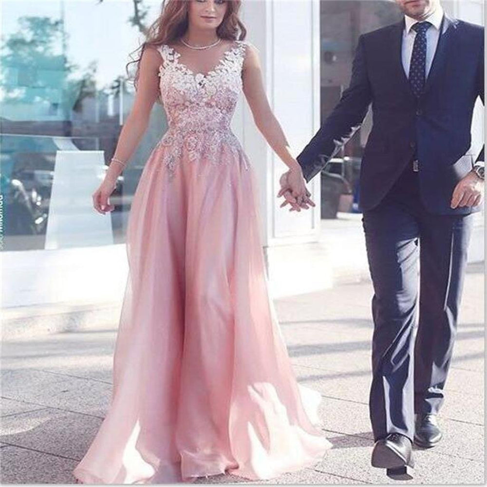 Pink V Neck Applique Affordable Pretty Long Prom Dress, BG51498