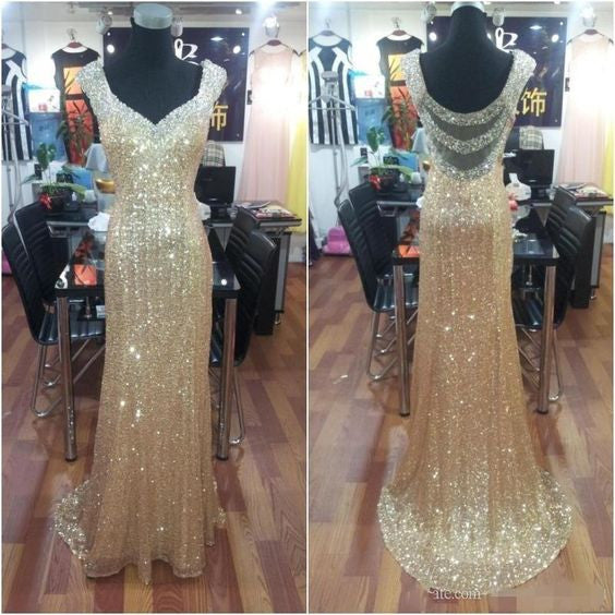 Charming Sparkle Gold Sequin Seen Through Back Long Prom Dress, BG51500