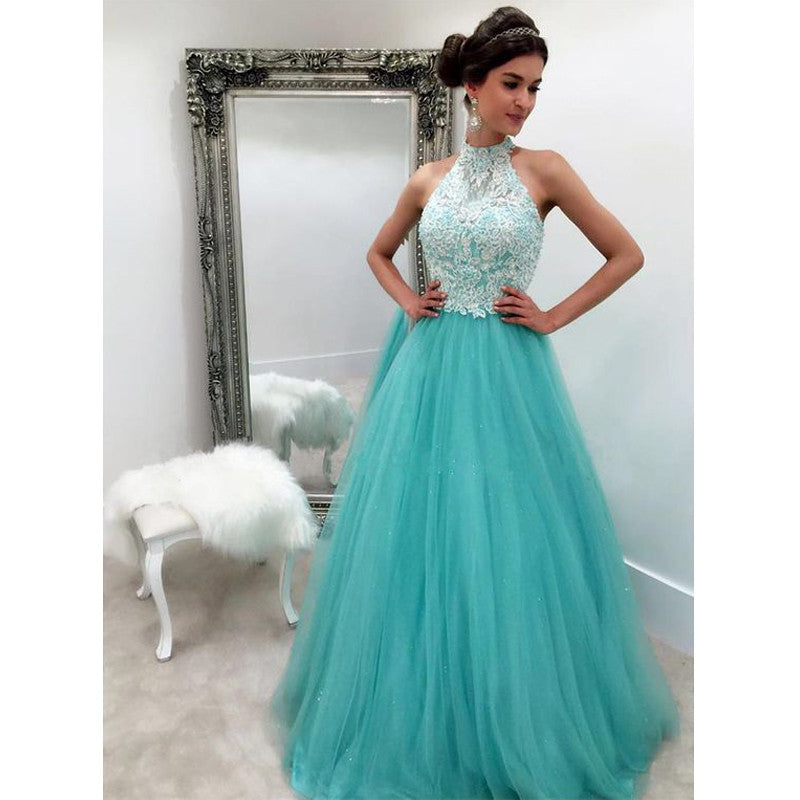 Blue Lace Top Tulle Halter Cheap Ball Gown Long Prom Dress, BG51503