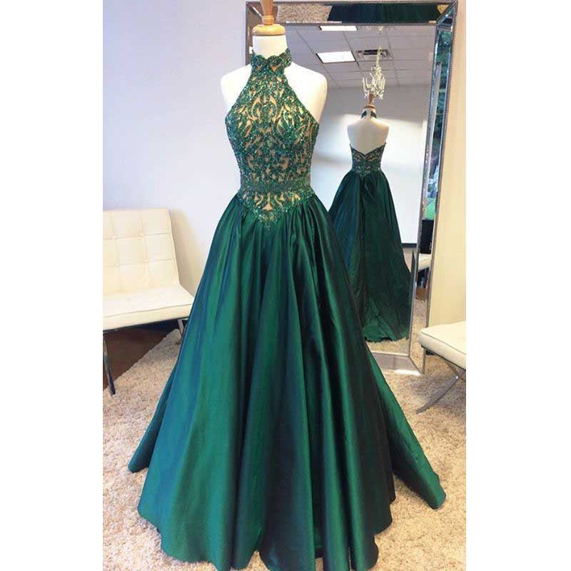 Halter Teal Green Beaded Top Elegant Long Evening Prom Dress, BG51507