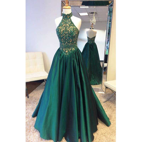 2017 Halter Teal Green Beaded Top Elegant Long Evening Prom Dress, BG51507