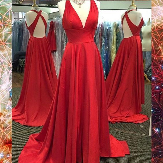 Red V Neck Cross Back Simple Cheap Long Prom Dresses, BG51509