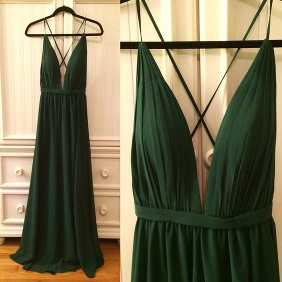 Sexy Green Deep V Neck Simple Backless Long Prom Beach Dresses, BG51510