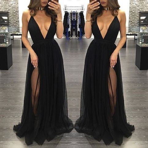Black Deep V Neck Sexy Simple Side Split Long Party Prom Dresses, BG51514 - Bubble Gown
