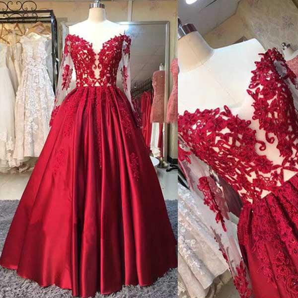 Red Long Sleeves Off the Shoulder Long 2017 Prom Dress Ball Gown ...
