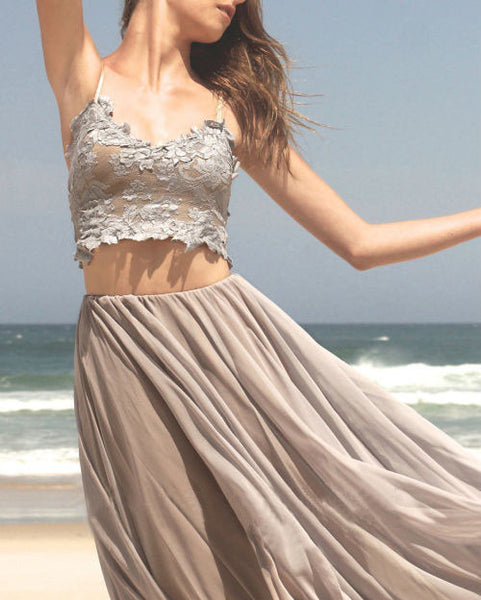 Grey Sexy Lace Two Pieces Cheap Long Beach Prom Dresses, BG51518