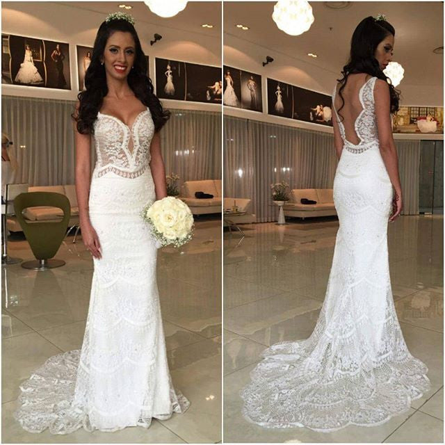 White Lace Mermaid Cheap Online Long Wedding Dresses, BG51522