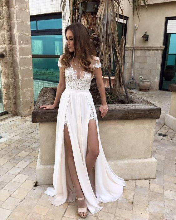 Ivory Cap Sleeves Sexy Split Lace Applique Long Prom Dresses, BG51523