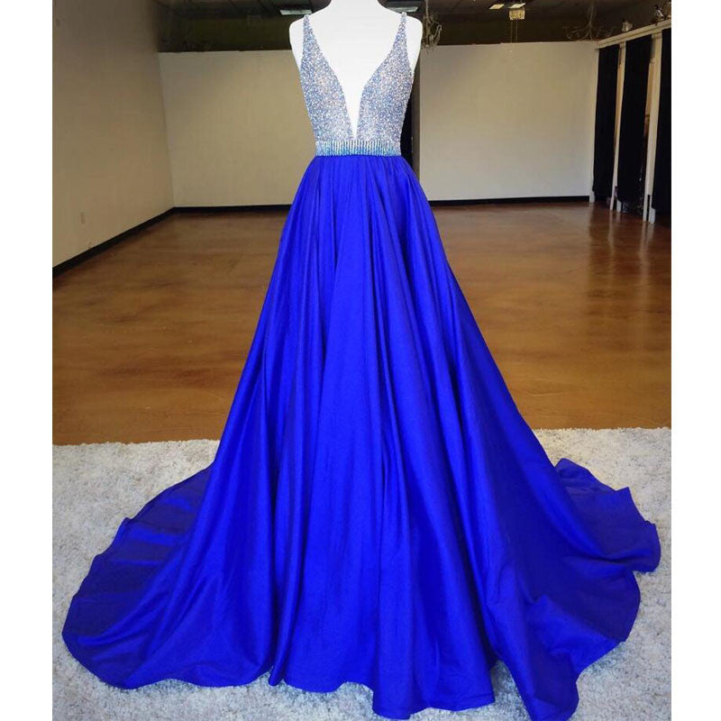 Eleagnt Royal Blue V Neck Inexpensive Long Prom Dresses, BG51524